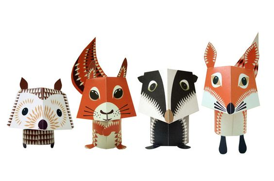 Forest friends, papper animals, Le Kiosk.