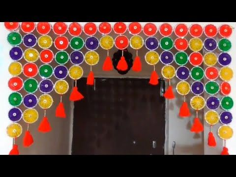 Diy Door Hanging Toran From Bangles And Woolen How To Make Bangles Toran Diy Woolen Toran Diy Diwali Decorations Door Hanging Decorations Diy Door