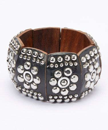 Another great find on #zulily! Black Wood & Silver Stud Stretch Bracelet #zulilyfinds