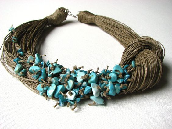 NatuRal TuRqUoiSe  BIG linen necklace by GreyHeartOfStone on Etsy, $48.00