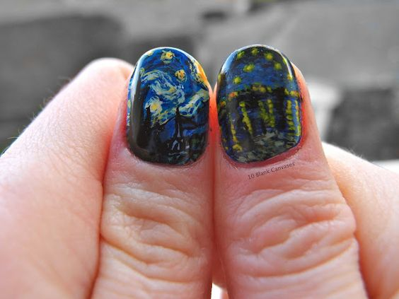 amazing nail art - van gogh - by 10 blank canvases