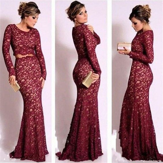Red tight lace prom dress