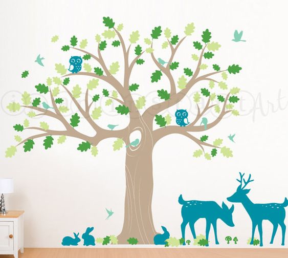 Tree Decal, Woodland Nursery Wall Decal with Owls, Deer, Birds and Large Oak Tree for Baby, Kids or Childrens Room 085 on Etsy, $162.72 CAD