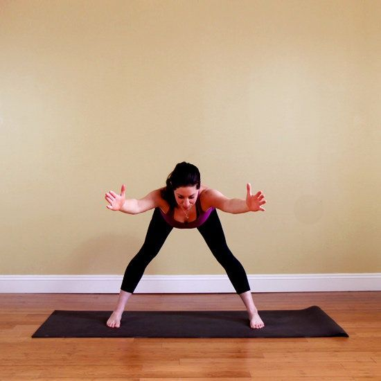 10 yoga poses to help you look good.  Why it works: Extended Standing Straddle looks super easy, but holding your upper body parallel to the floor is one of the best ways to tone your core, arms, and legs.    Get more out of it: Shift your body weight forward into your toes to make your legs work harder.