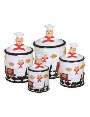 4pc Kitchen Canister Set Fat Chef Bistro, Kitchen Decor by Marcel Imports. $67.99. Product DescriptionUnmistakably for an Elegant or Casual Dinner . This Chef set is one of the most popular Chef Style.This cute Design will add a new decoration to your home and Kitchen. Happy Chefs in your kitchen to give it the final Italian look in your kitchen. This is a delightfully decorated ceramic SET Awesome This is Fine ceramic This is High Quality Ceramic full of Color wit...