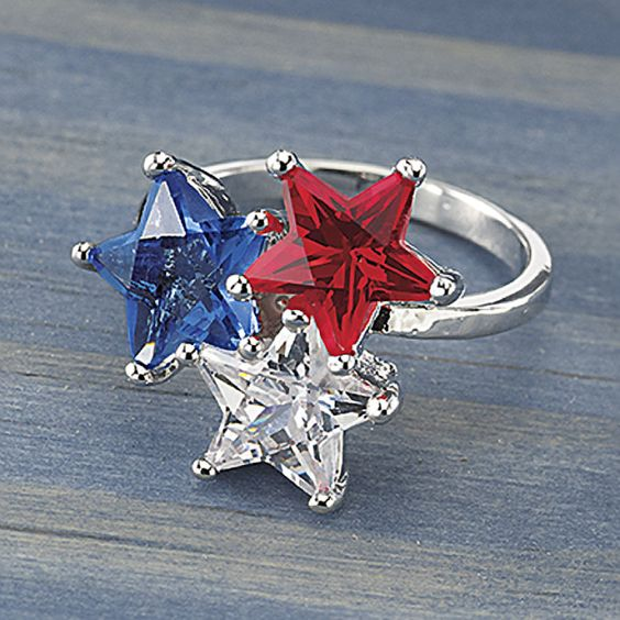 $19.99 - Three-Star Ring - Western Wear, Equestrian Inspired Clothing, Jewelry, Home Décor, Gifts. Cute for 4th of July, other patriotic holidays.