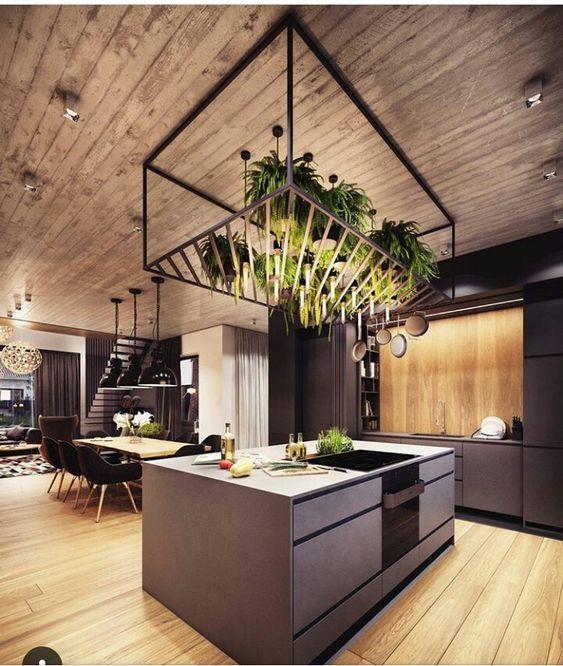 moderne küche kochinsel holz optik beige hochglanz fronten - hochglanz weiss modernen apartment