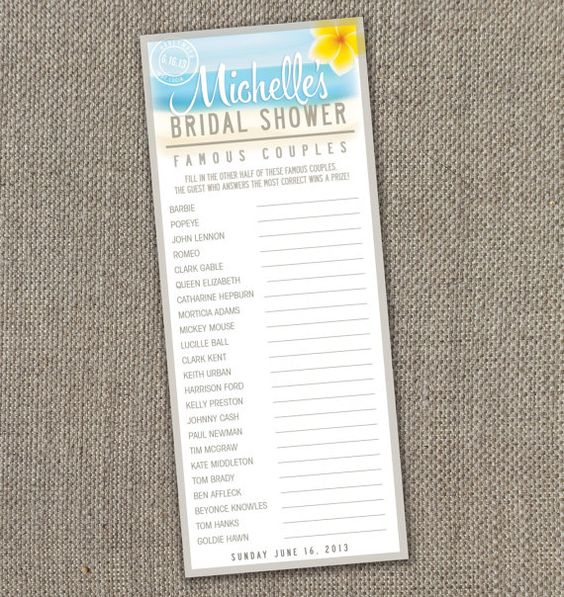 Beach Theme Bridal Shower. Bridal Shower Famous Couples Game. DIY