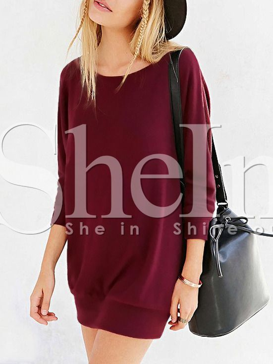 Wine Red Long Sleeve Inch Casual Dress 12.99