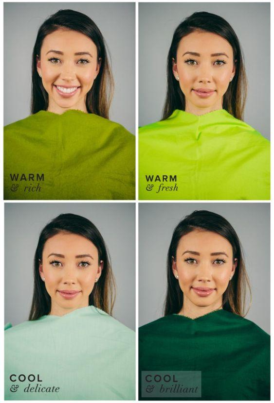 Mujer con 4 telas verdes en distintos tonos para comparar cual realza su piel según la teoría de las estaciones