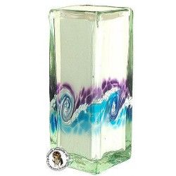 Amazing glass vase from Kitras with purple and blue swirls! Beautiful with flowers or just on its own!