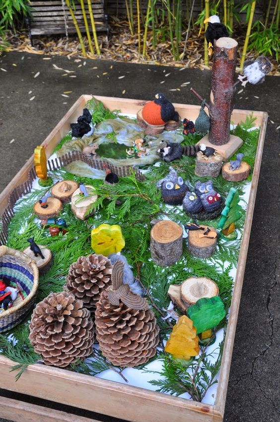 Outdoor exploration table. There are a lot of wonderful pictures and open-ended play ideas here!: