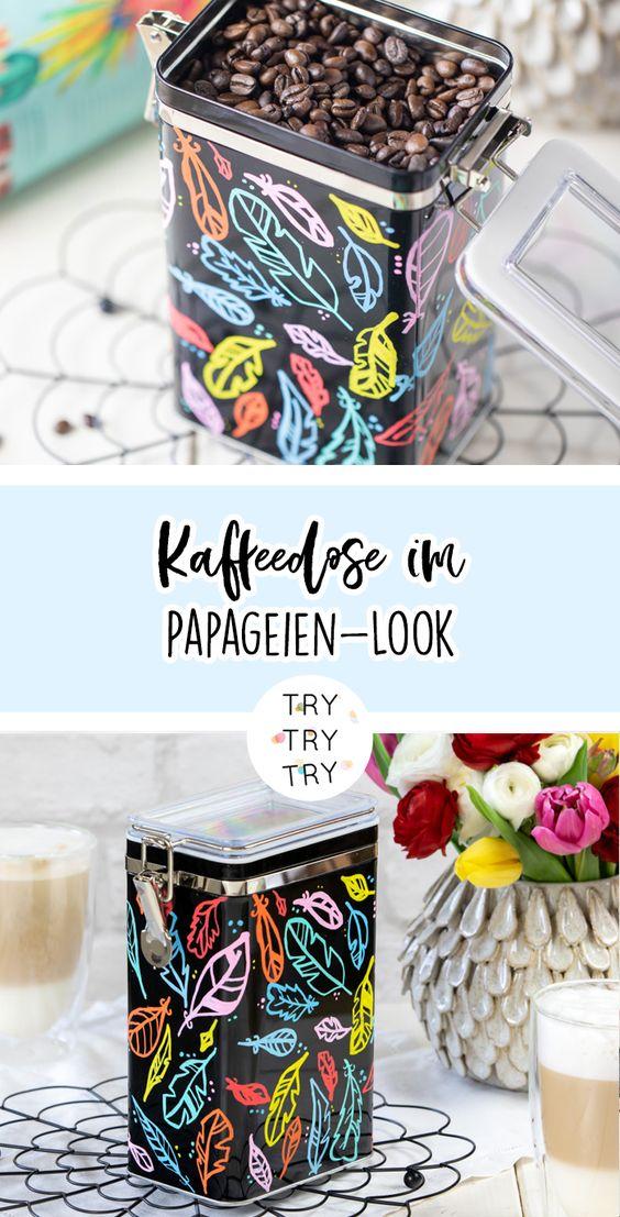 DIY Kaffeedose im Papageien-Look mit Gala von Eduscho