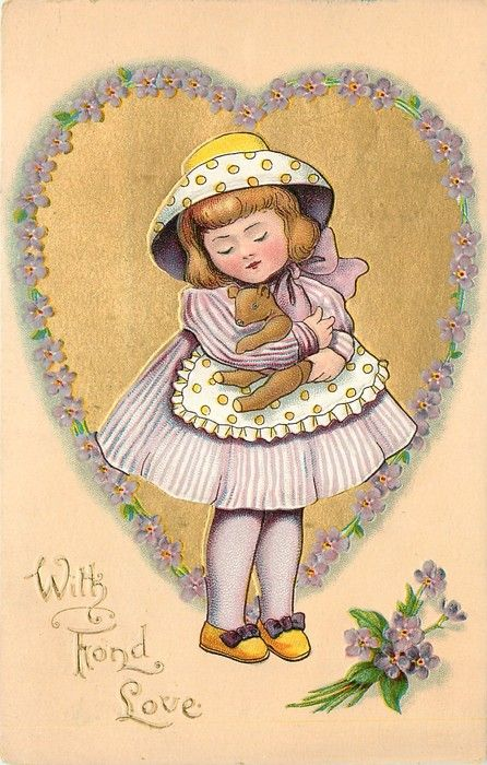 WITH FOND LOVE girl in purple clasps teddy-bear in front of gilt heart surrounded by forget-me-nots