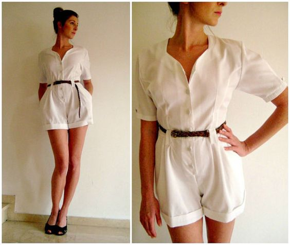 Playsuit Jumpsuit Onesie 80s does 40s white all in one buttons pockets shorts 50s UK 10 12 Romper
