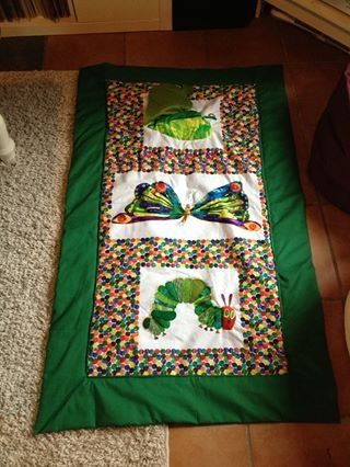 Hungry Caterpillar Baby Play Blanket with squeakers in the butterfly wings and a peekaboo leaf! By Jessica Clayden