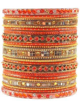 mumbai orange bangle set.