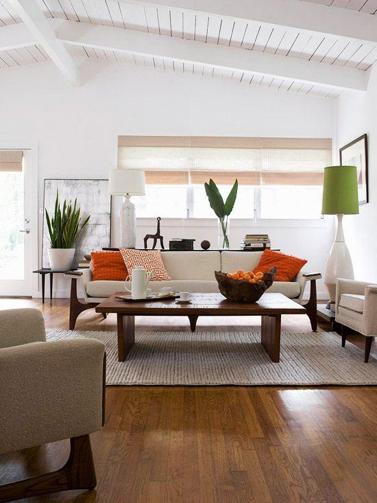 Simple zen look for a living room via bhg.com