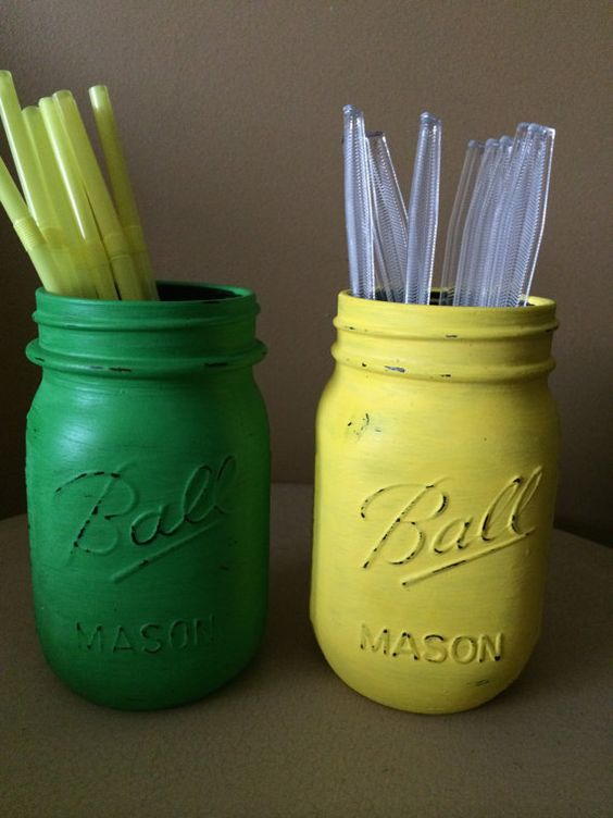 John Deere themed painted Mason Jars. These are pint size and great for holding your straws and utensils. Also great for John Deere themed