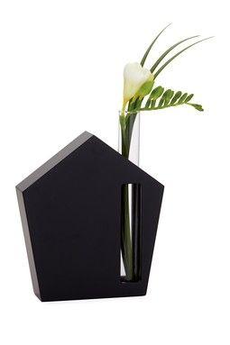 House Glass Black Tube Bud Vase
