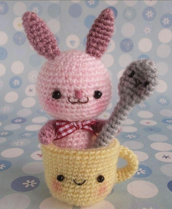 Cute Kawaii Amigurumi Patterns : Amigurumi Bunny with Cup and Spoon - FREE Crochet Pattern ...