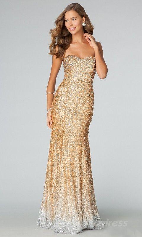 Cute Sleeveless Trumpet Natural Lace Gold Prom Dress bzdress7417 ...