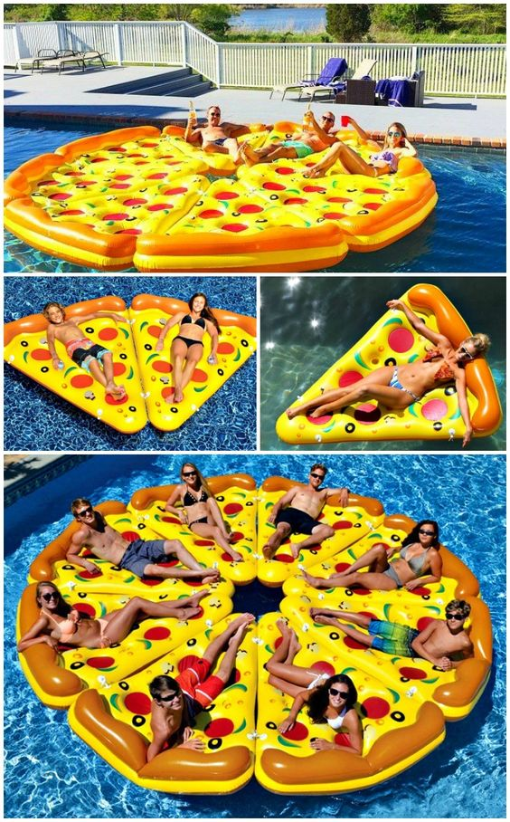 Who wants a slice?! The Pizza Pool Float is the ultimate pool float for your next pool party. Eight delectable and detachable pizza slices.: