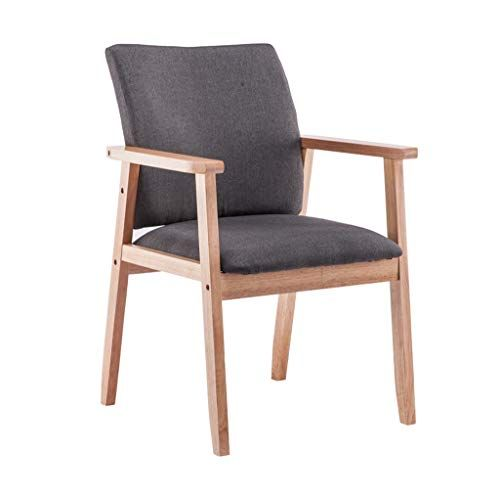 Dining Chairs Wooden Armrest Cushion Textile Linen Upholstered