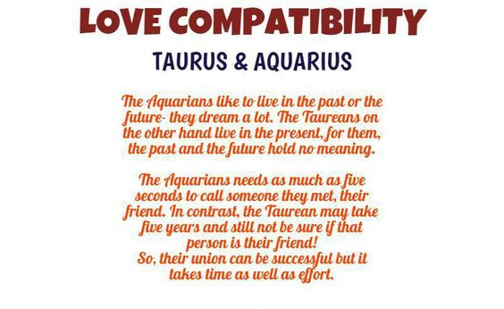 Love match taurus man aquarius woman