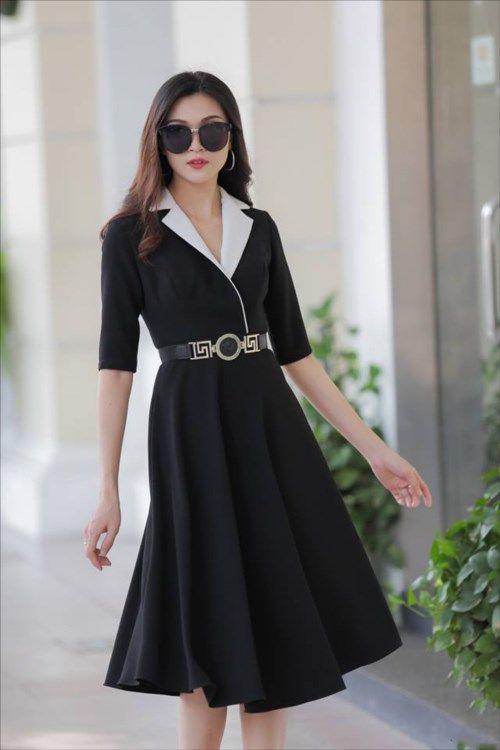 Đầm công sở cổ vest có túi cực sang trọng | Phong cách thời trang ...