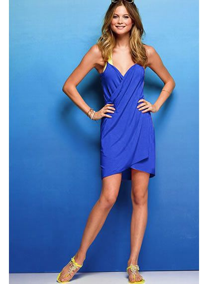 Sapphire Blue Open Back Cover-up Dress