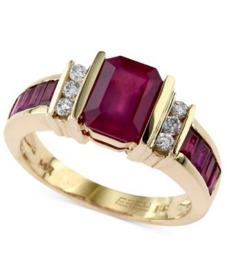 Emerald- and- baguette-cut rubies (2-1/4 ct. t.w.) combine with round-cut diamonds (1/6 ct. t.w.), lending this elegant ring an opulent allure. Effy's ring is set in 14k gold.   Photo may have been en