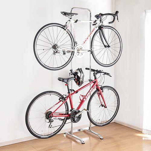 自転車スタンド 2台掛け ホームバイクラック 自立式 ディスプレイスタンド 屋内用 800 Byst6の販売商品 通販ならサンワダイレクト 自転車スタンド 自転車 ディスプレイスタンド