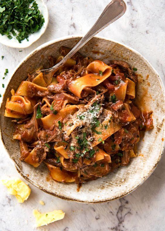 Slow Cooked Shredded Beef Ragu Pasta With Images Ragu Recipe Italian Comfort Food Recipetin Eats