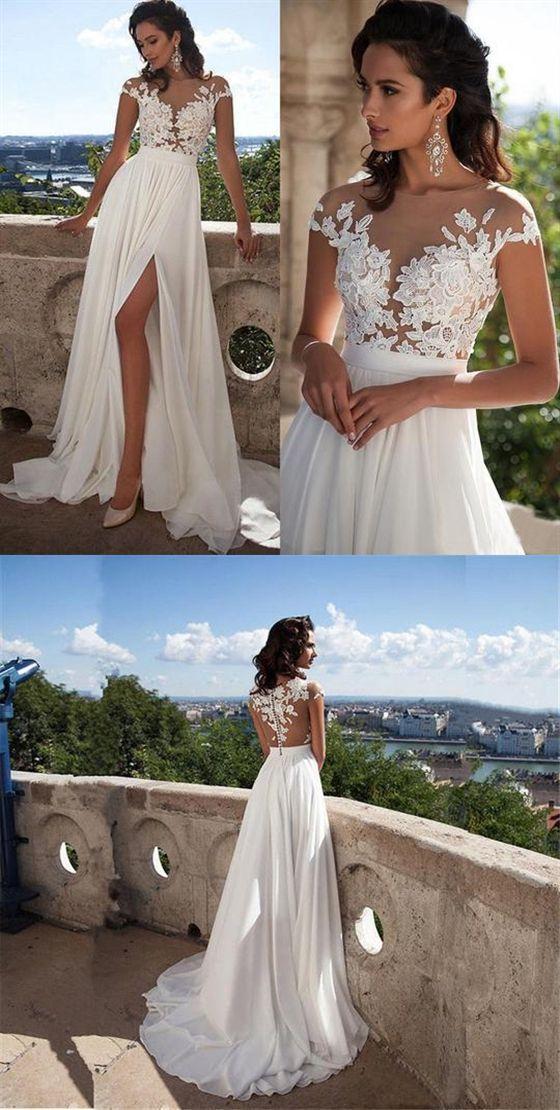 Cheap White Ivory Lace Wedding Dress Beach Bridal Gown A Line Wedding Gown 2019 Cheap White Ivory Lace Wedding Dress Cheap Wedding Dress Top Wedding Dresses