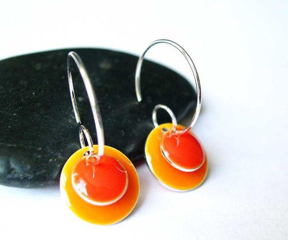 Orange Enamel Earrings  Silver Hoop Modern by SYMBOLICinteraction, $15.00