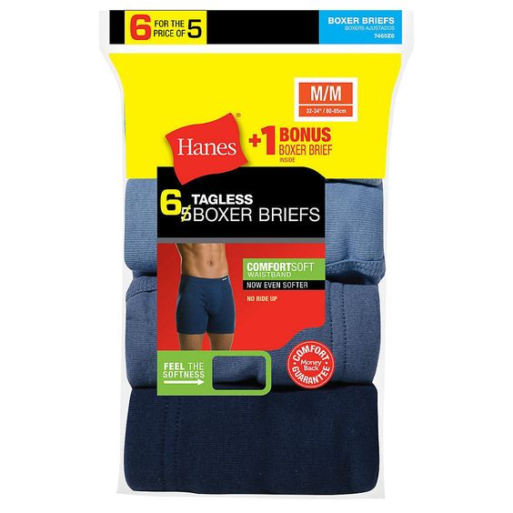 6-Pack Hanes Men's TAGLESS Boxer Brief & ComfortSoft Waistband - Assorted - S-XL #Hanes #BoxerBrief
