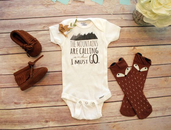 Mountains are Calling Baby Onesie® Boho Baby by BittyandBoho