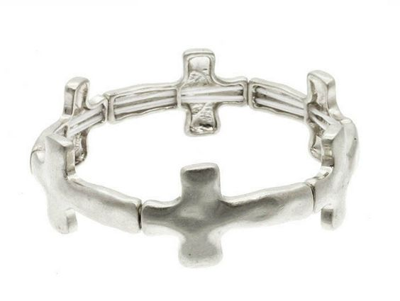 IceCarats Designer Jewelry Metal Fashion Link Matte Hammered Silver Tone Stretch Cross Bracelet