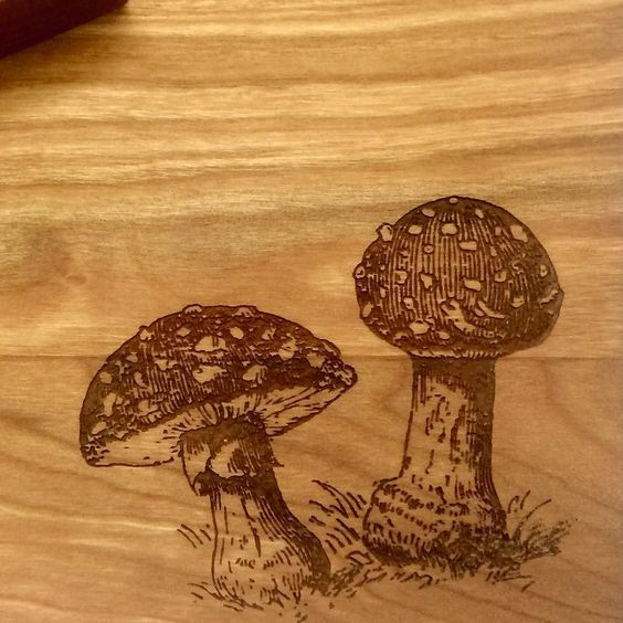 #toadstool #flyagaric #cuttingboard #woodwork #laseretched de silverbirchdesigns