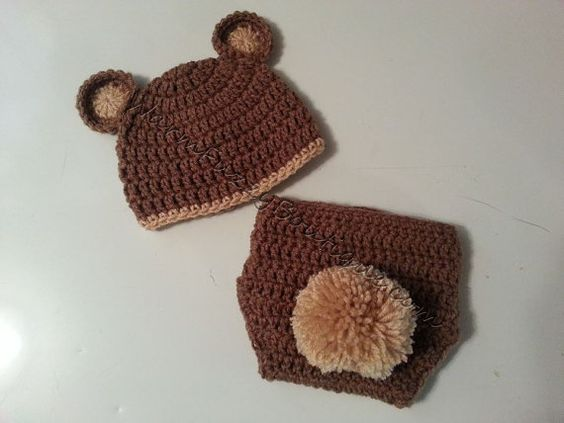 Baby Bear Hat & Diaper Cover Set Cafe Buff by WarmFuzzyBoutique
