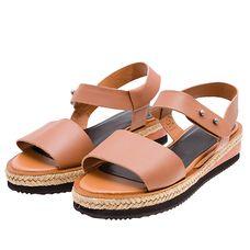 Sandália flatform fachetada Farm - marrom