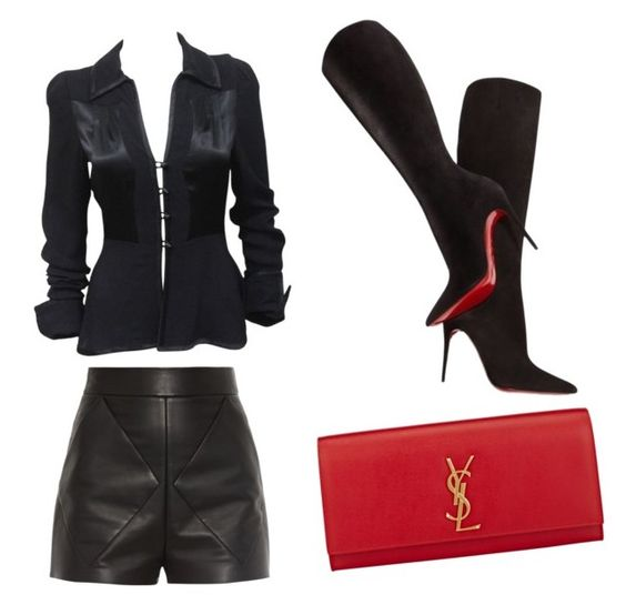"""""""wow"""" by laquinna-lb on Polyvore featuring Balenciaga, Ossie Clark, Christian Louboutin and Yves Saint Laurent"""