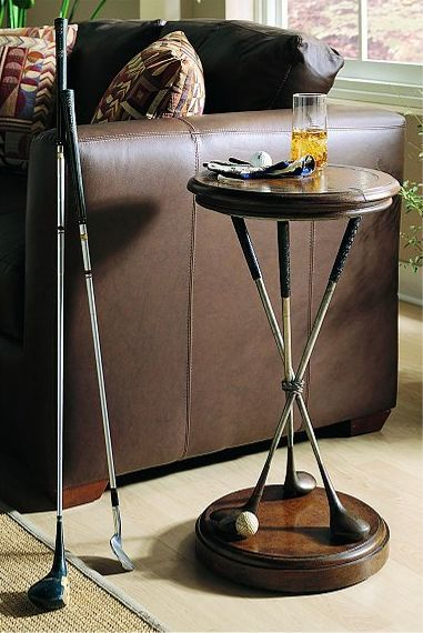 Golf round accent table by hooker furniture gary and his for Man cave coffee table ideas