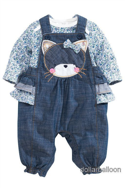 Next Girls Denim Cat Frill Dungarees Pink Ditsy Floral Bodysuit Outfit Set Baby Clothes Shoes Acce Kids Outfits Baby Kids Clothes Baby Clothes Patterns