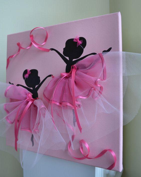 Ballerines de danse en Tutus roses. Enfants salle de décor de mur.