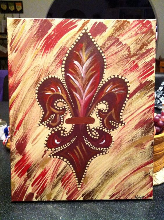 Fancy Burgundy Fleur De Lis- Peace Of Art by MelKay (I take orders!)