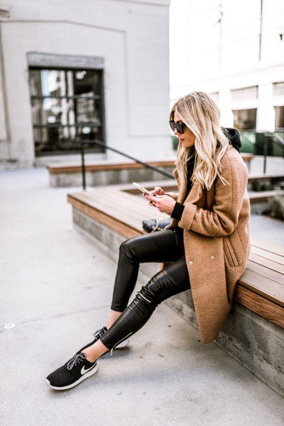 leather pants, camel coat