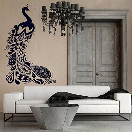 Wall Decals Peacock Bird Feathers Pattern Doodle Nature Vinyl Decal Sticker Home Décor Bedroom Nursery Room Living Room Murals S46: