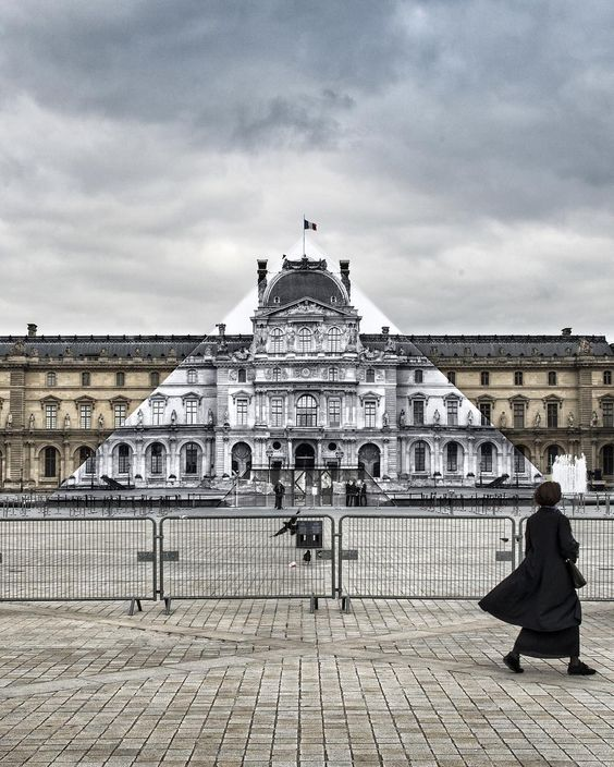 Photographer JR Makes the Iconic Louvre Pyramid Disappear Into Facade of the Paris Museum